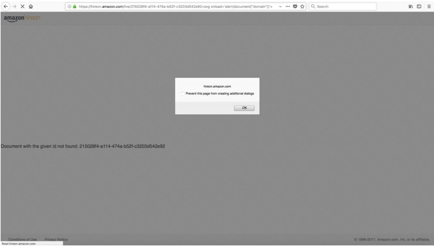 Responsible disclosure – Reflected XSS on hireon.amazon.com