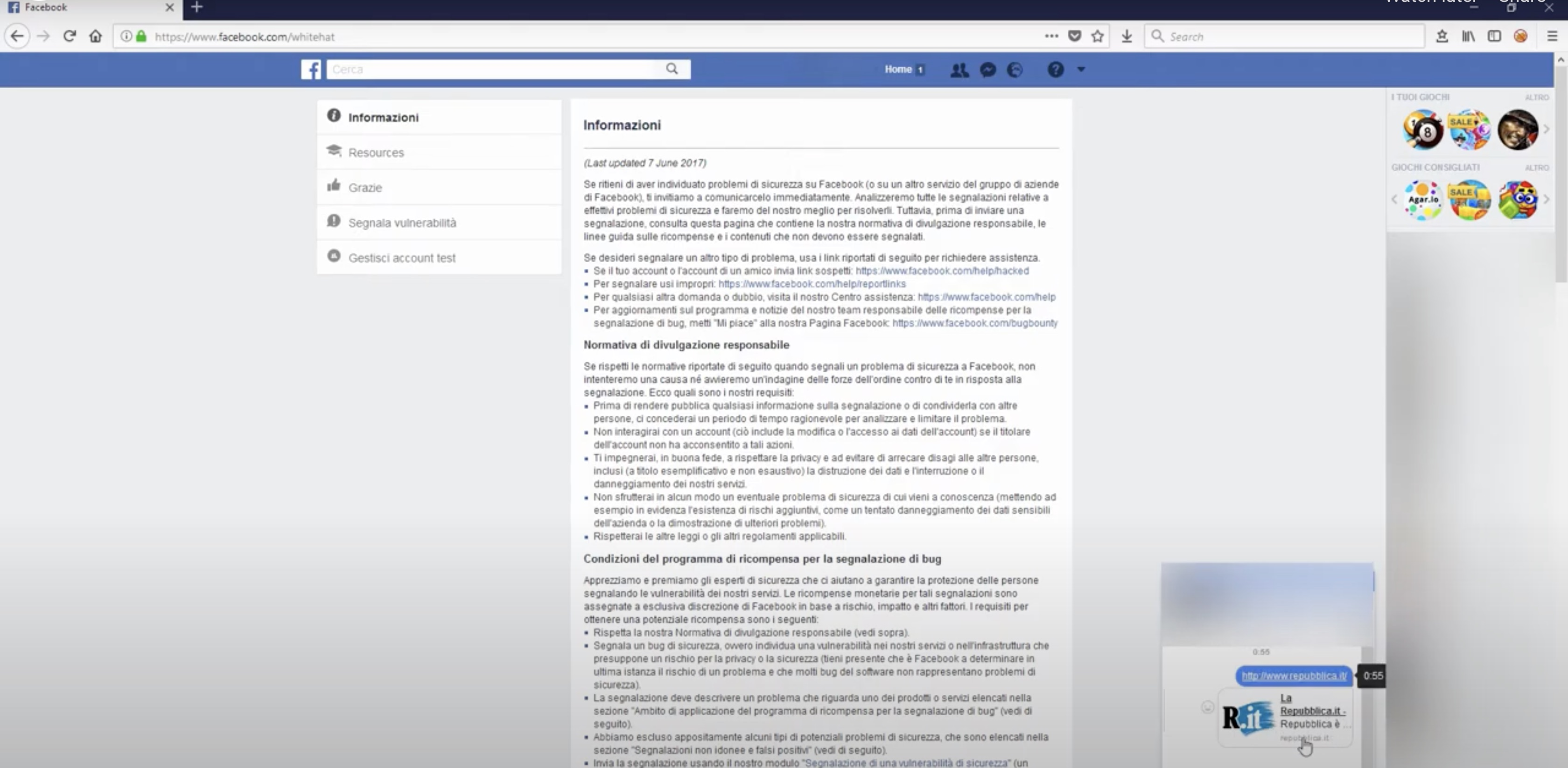Facebook chat / dashboard content injection