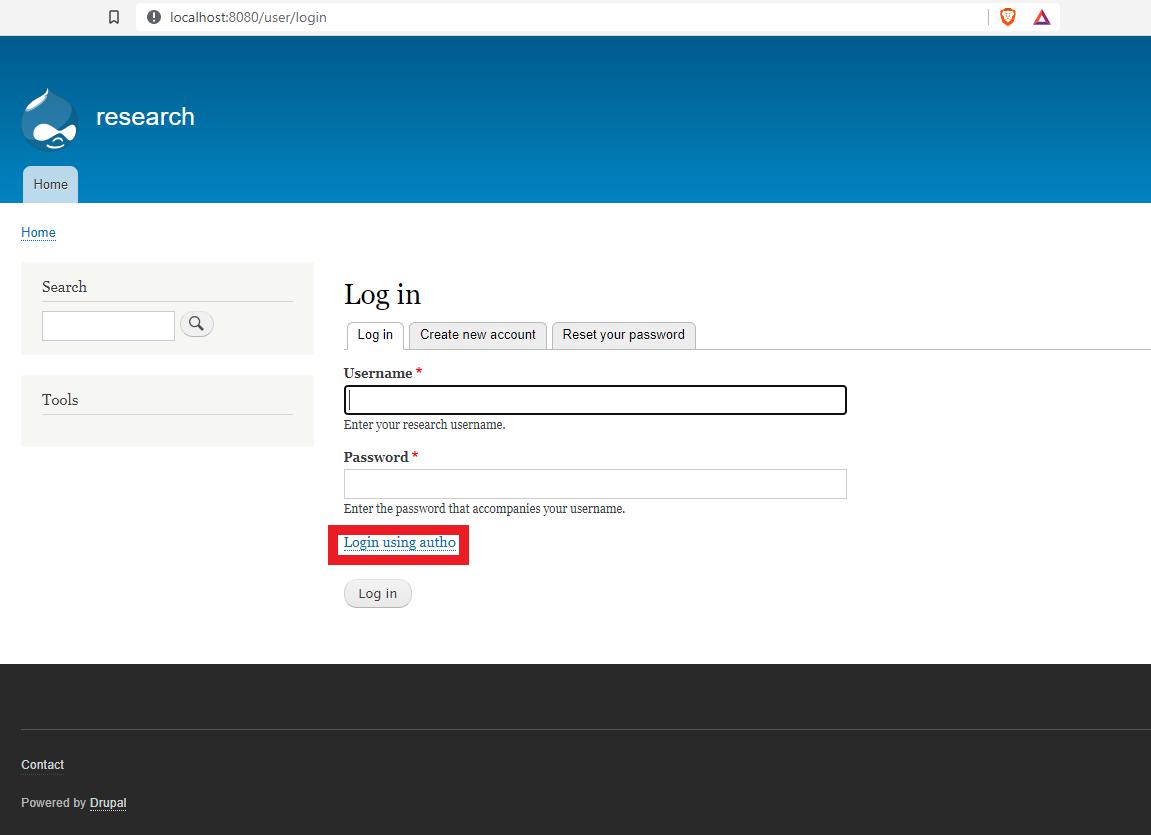 New option on the Drupal login page