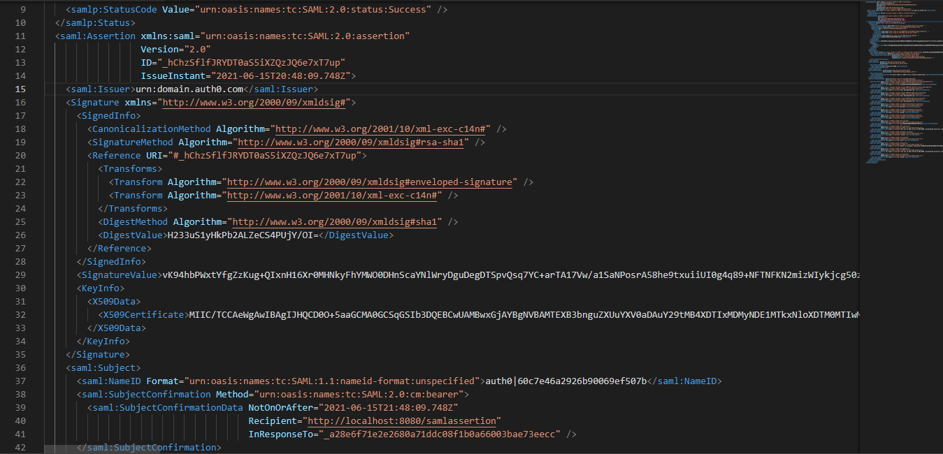 Decoded SAML Message